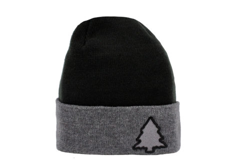 black and grey classic beanie