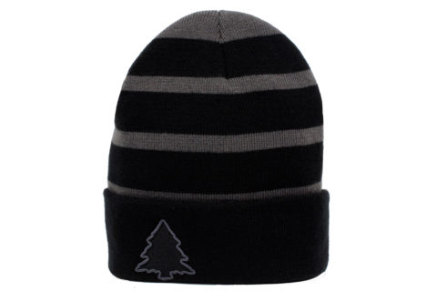 grey and black striped beanie
