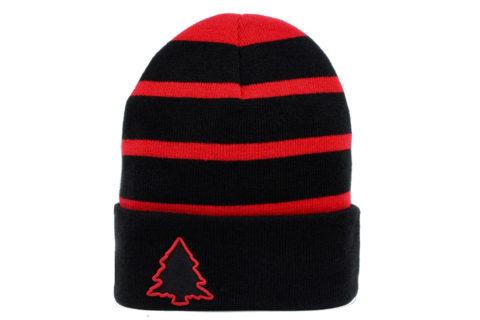 red and black striped beanie